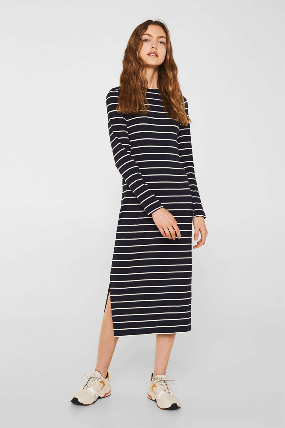 Stretch jersey dress with stripes and texture, NAVY, detail image number 1