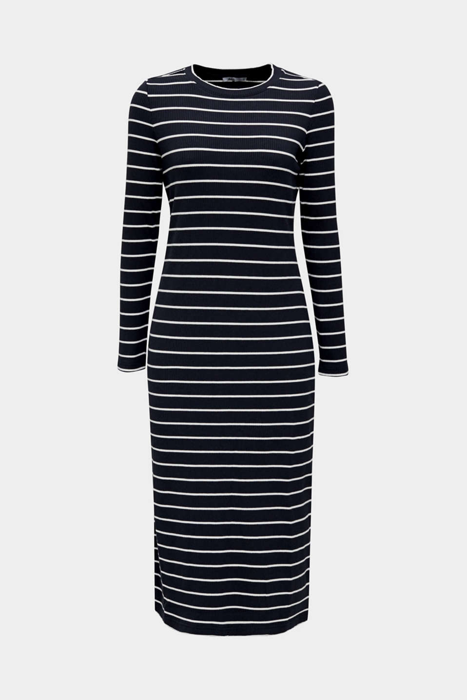 Stretch jersey dress with stripes and texture, NAVY, detail image number 7