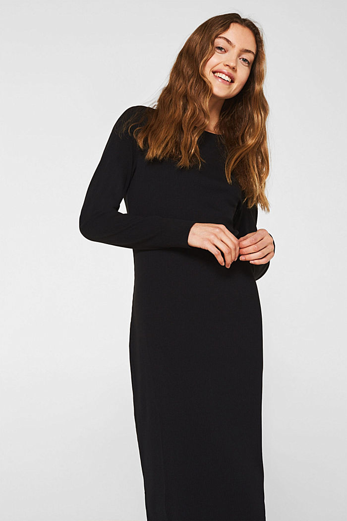 Jersey-Stretch-Kleid mit Ripp-Struktur, BLACK, detail image number 0