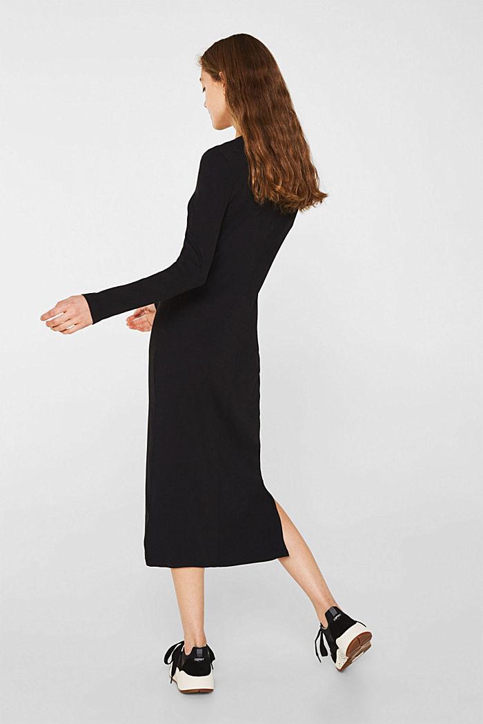 Jersey-Stretch-Kleid mit Ripp-Struktur, BLACK, detail image number 2