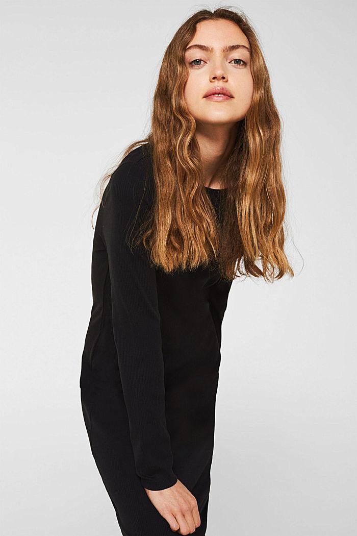 Jersey-Stretch-Kleid mit Ripp-Struktur, BLACK, detail image number 4