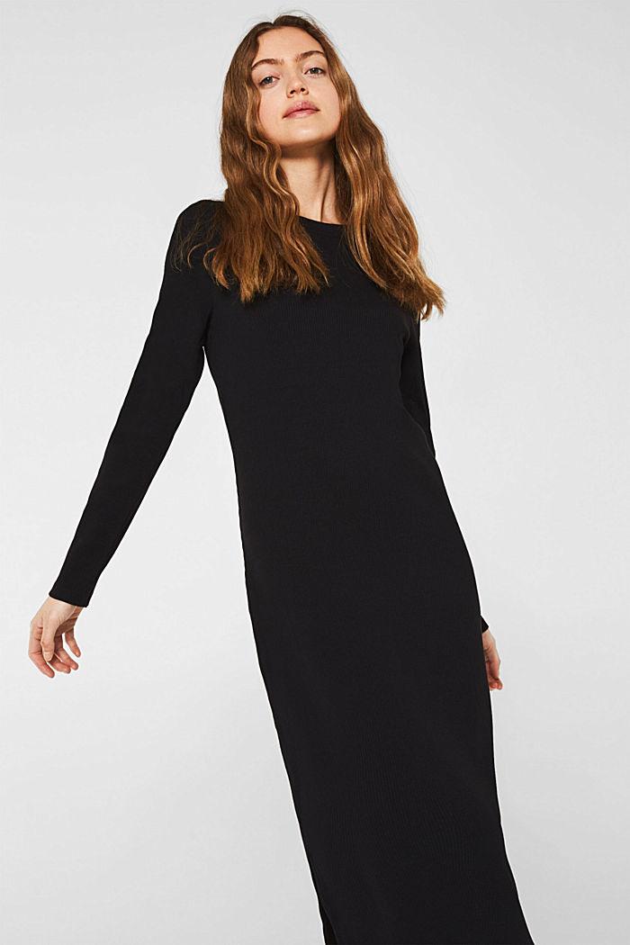Jersey-Stretch-Kleid mit Ripp-Struktur, BLACK, detail image number 6