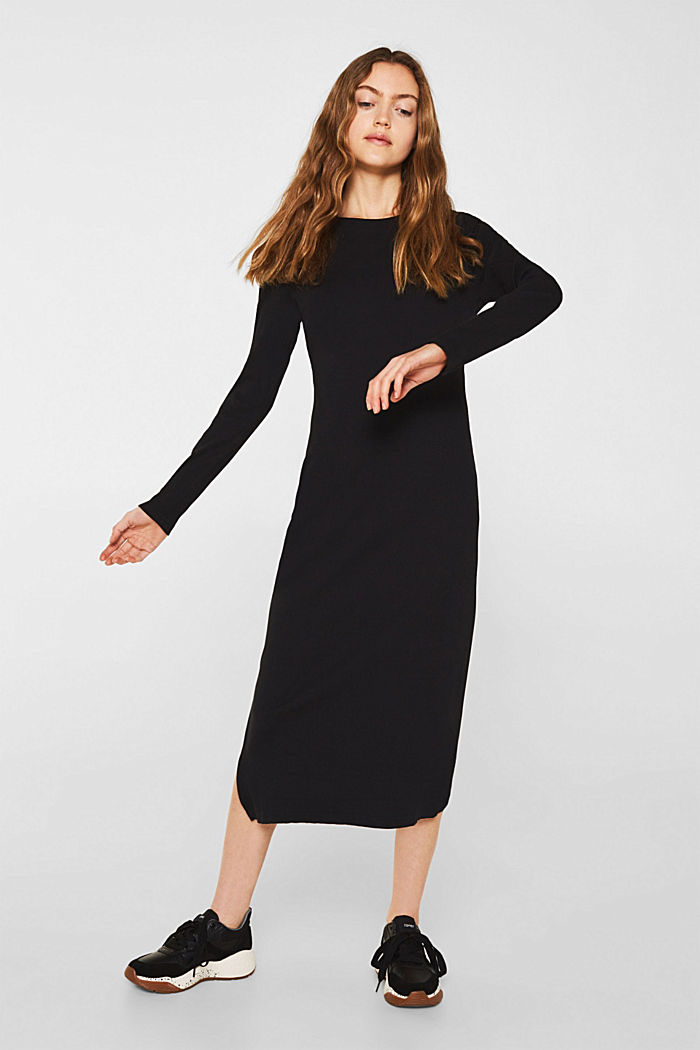 Stretch jersey dress with a ribbed texture