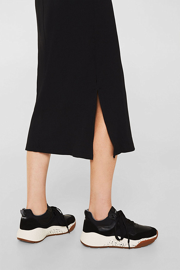 Jersey-Stretch-Kleid mit Ripp-Struktur, BLACK, detail image number 3