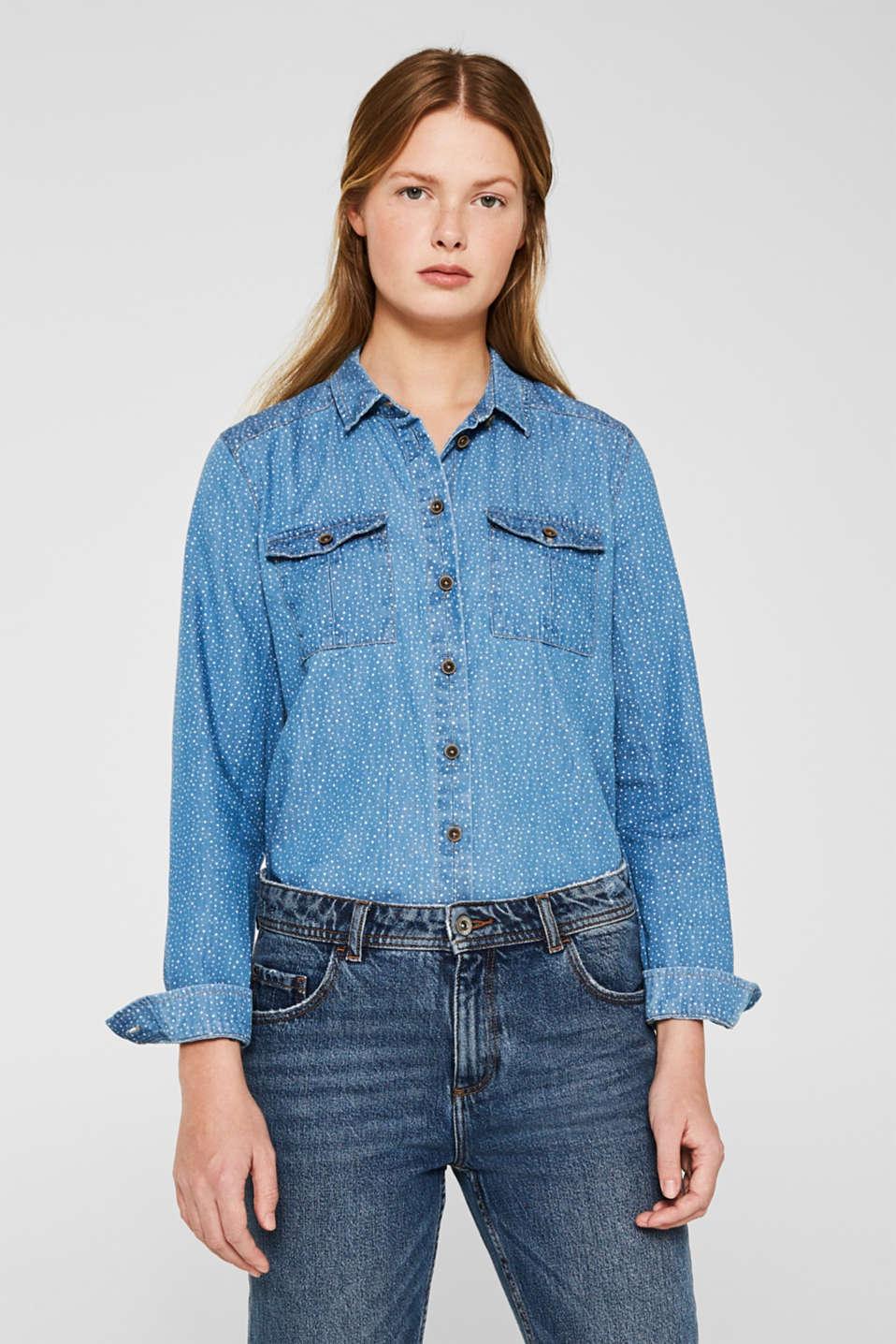 Printed denim blouse, 100% cotton, BLUE LIGHT WASH, detail image number 0