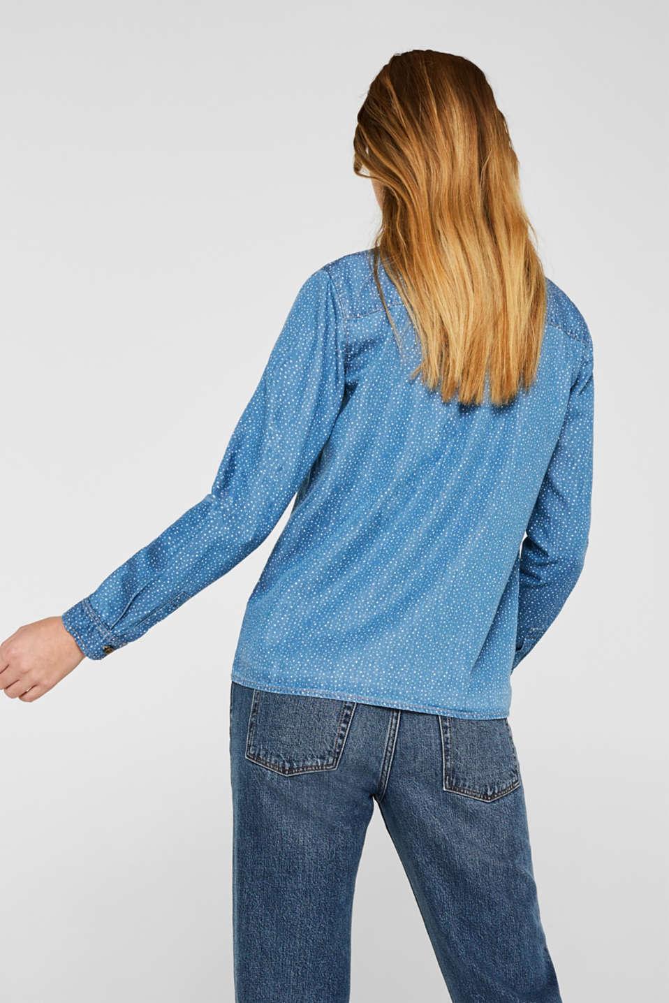 Printed denim blouse, 100% cotton, BLUE LIGHT WASH, detail image number 3