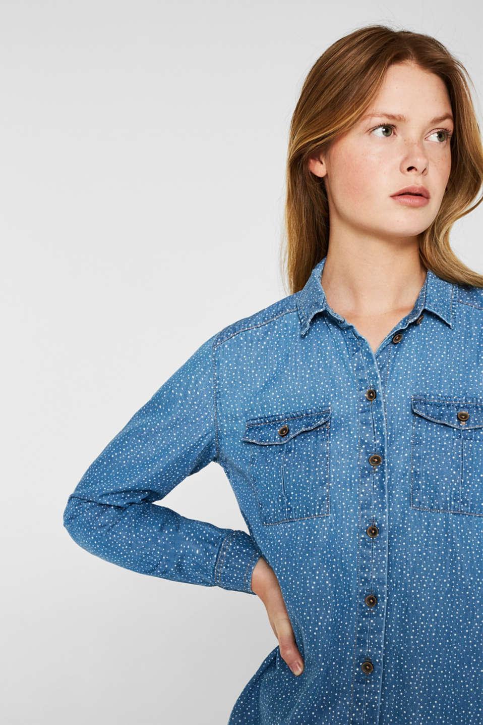 Printed denim blouse, 100% cotton, BLUE LIGHT WASH, detail image number 4