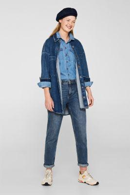 Printed denim blouse, 100% cotton, BLUE LIGHT WASH, detail