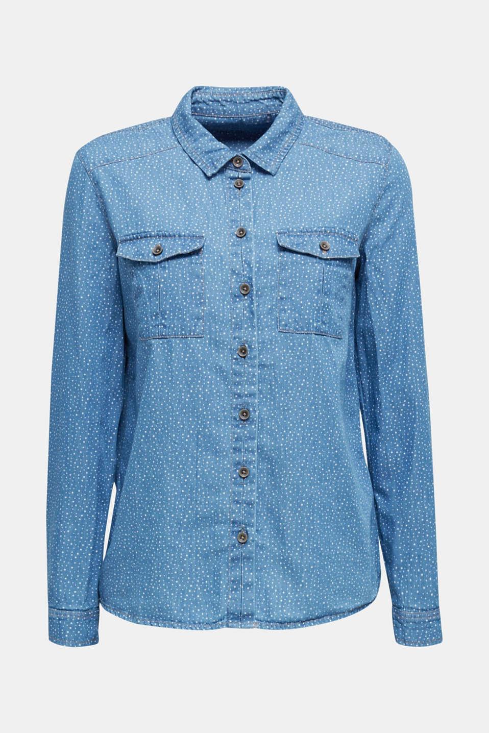 Printed denim blouse, 100% cotton, BLUE LIGHT WASH, detail image number 5