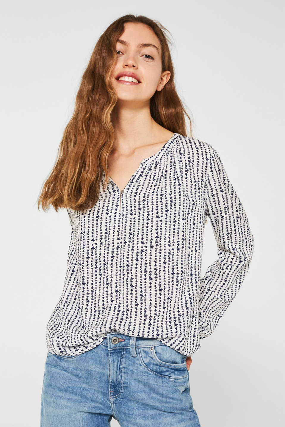 Print blouse with a Henley neckline