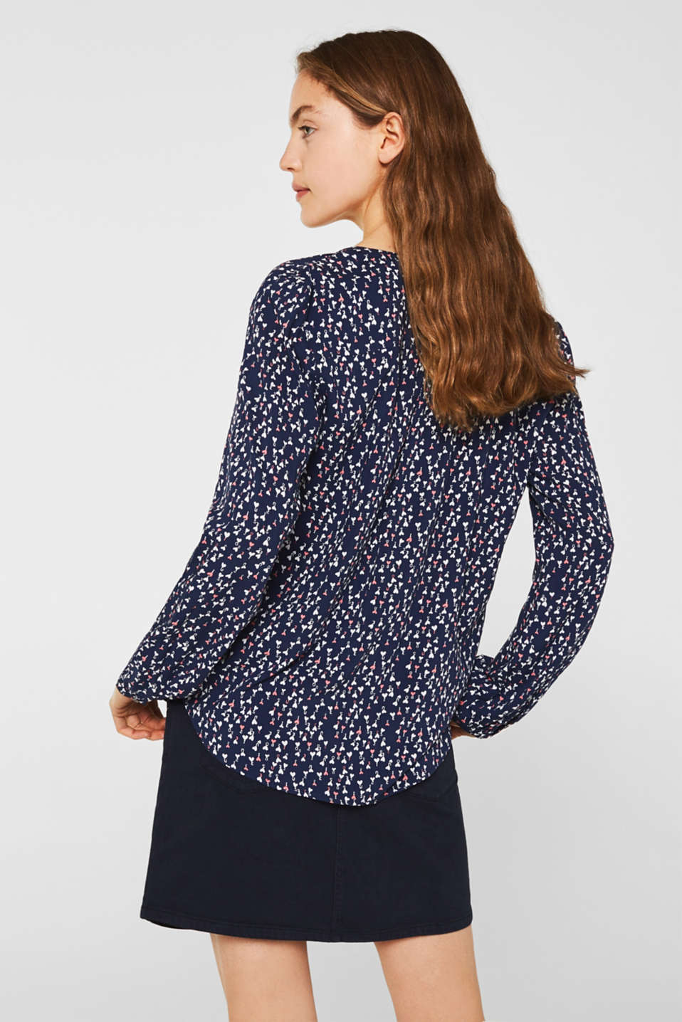 Print blouse with a Henley neckline, DARK BLUE 4, detail image number 3