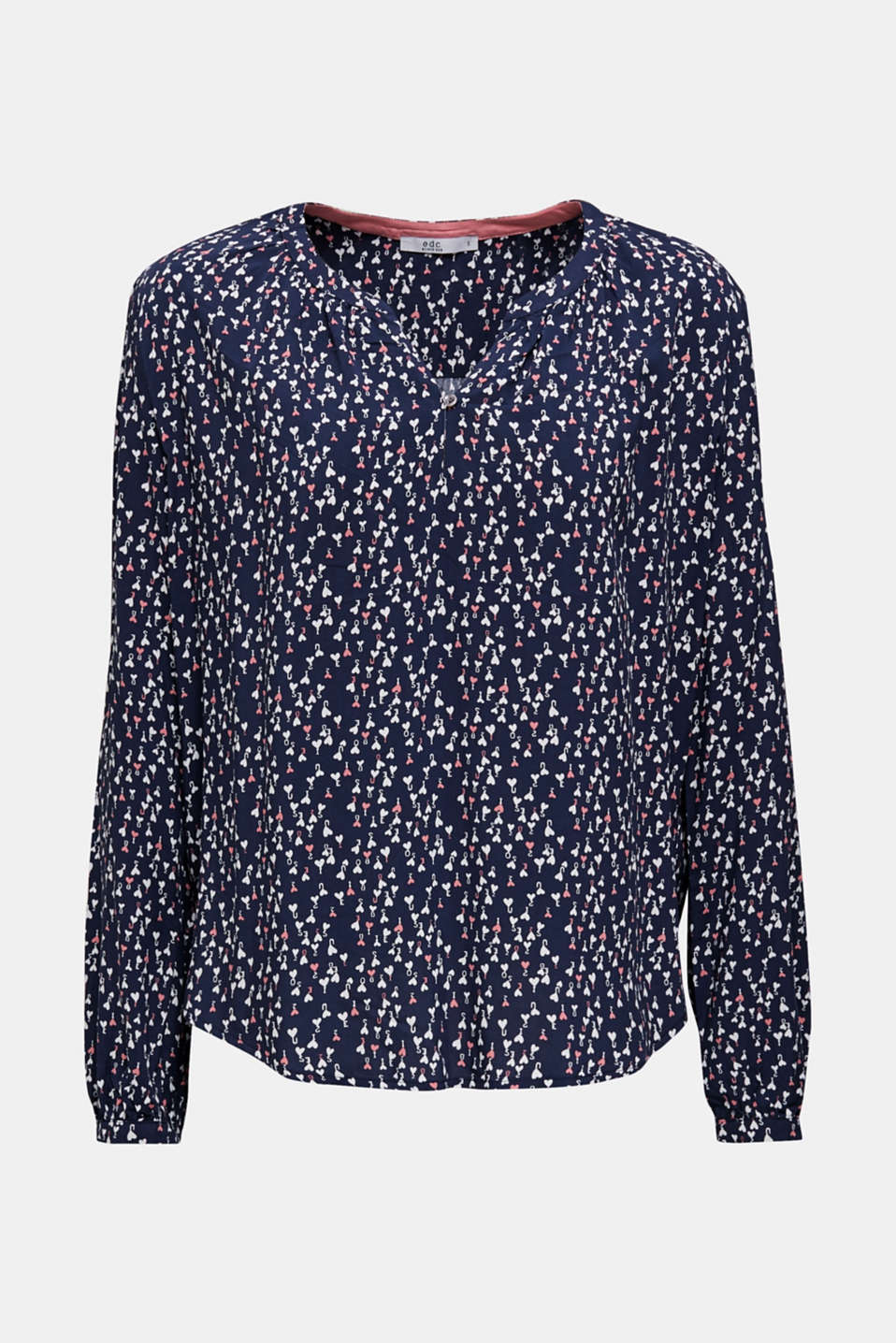 Print blouse with a Henley neckline, DARK BLUE 4, detail image number 7