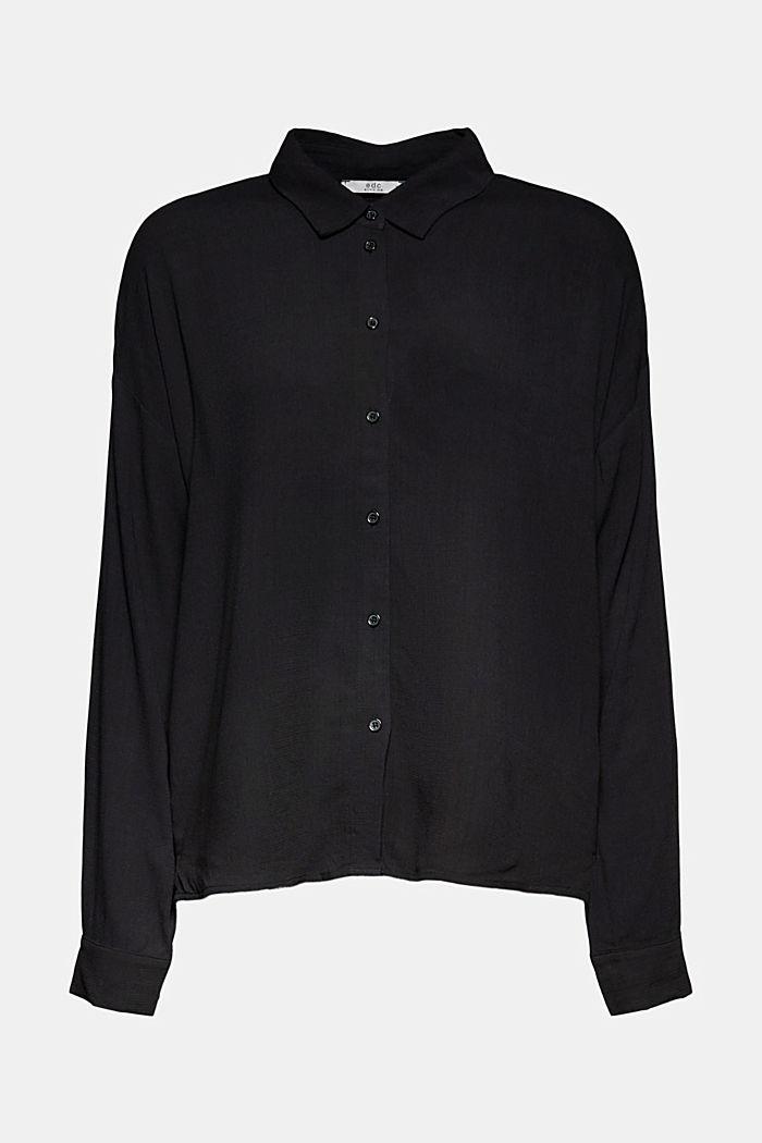 Fließende Hemdbluse mit Struktur, BLACK, detail image number 6