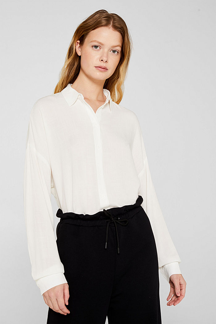 Flowing shirt blouse with a texture, OFF WHITE, detail image number 0