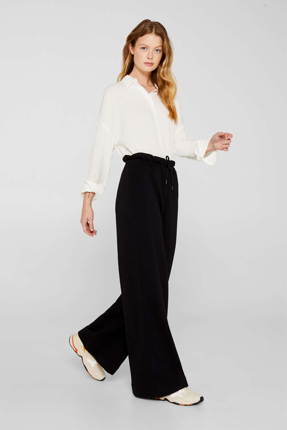 Flowing shirt blouse with a texture, OFF WHITE, detail image number 1