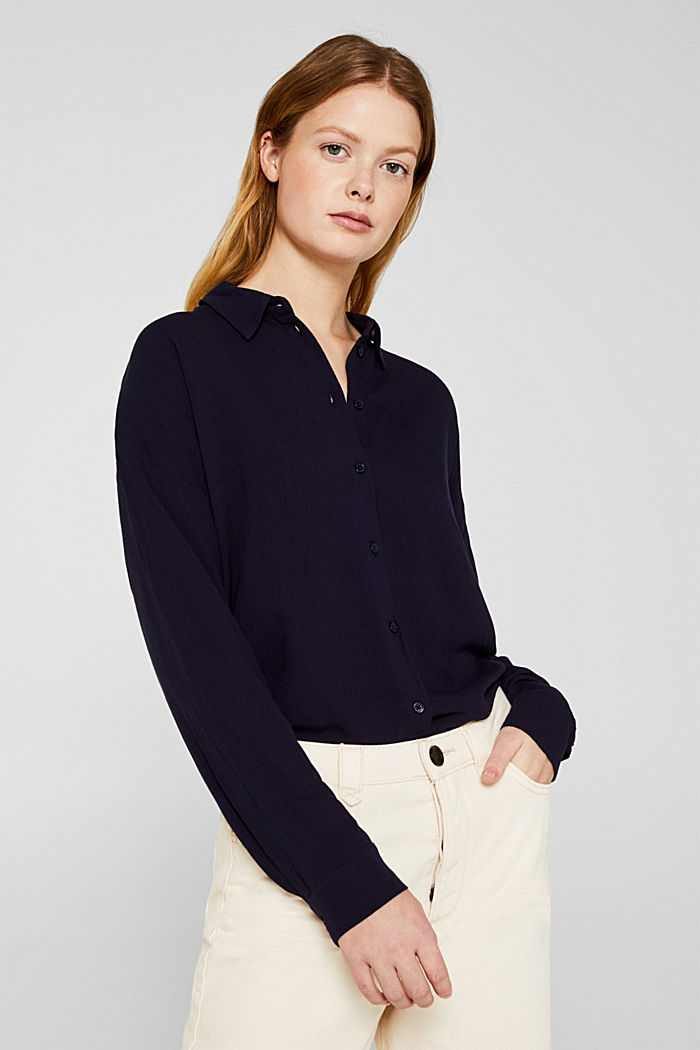 Flowing shirt blouse with a texture, NAVY, detail image number 0