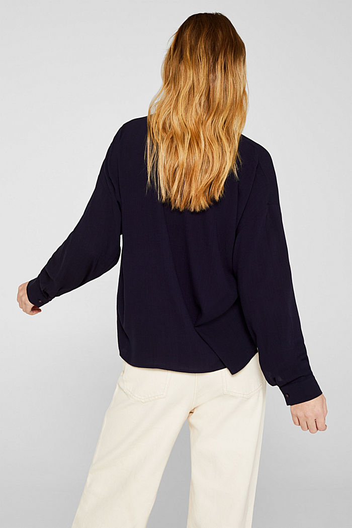 Flowing shirt blouse with a texture, NAVY, detail image number 3