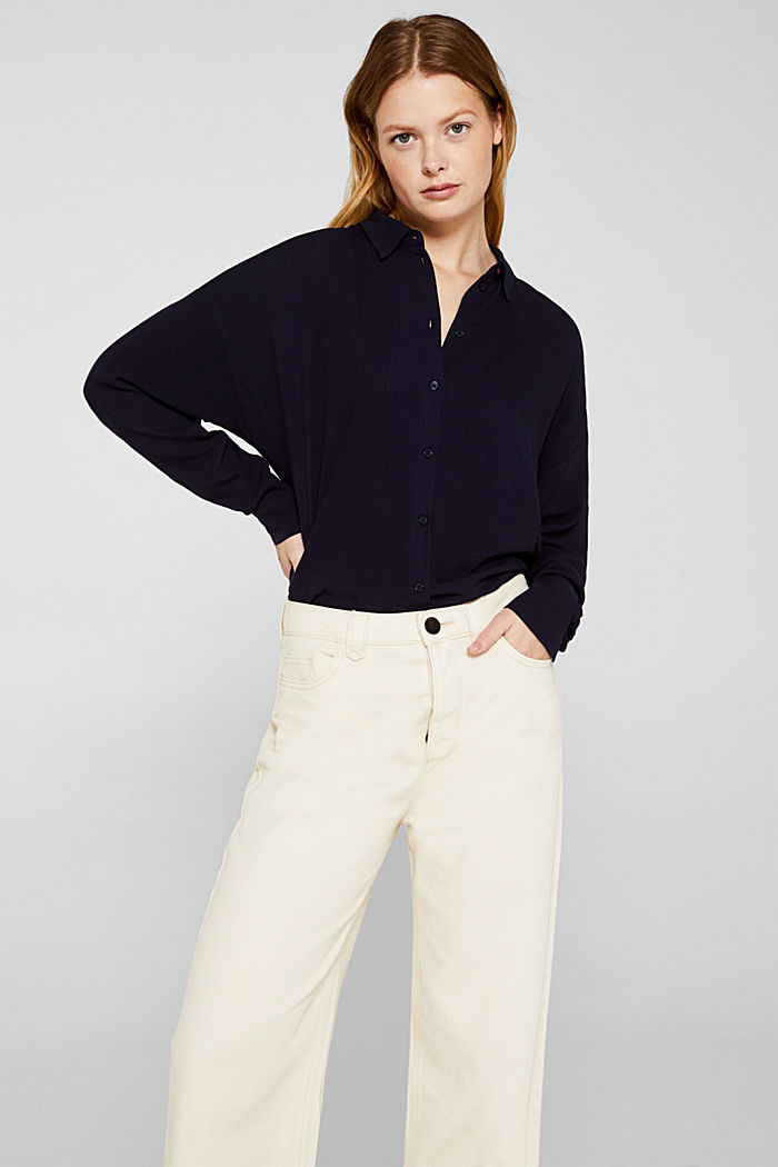 Flowing shirt blouse with a texture, NAVY, detail image number 5