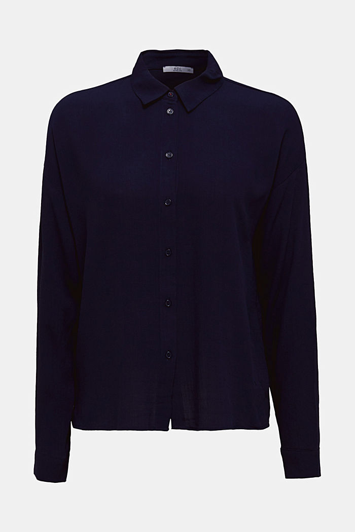 Flowing shirt blouse with a texture, NAVY, detail image number 7