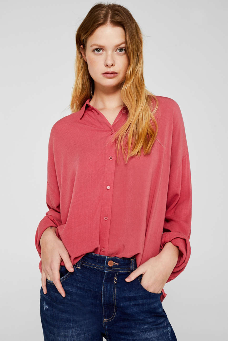 Flowing shirt blouse with a texture, BLUSH, detail image number 0
