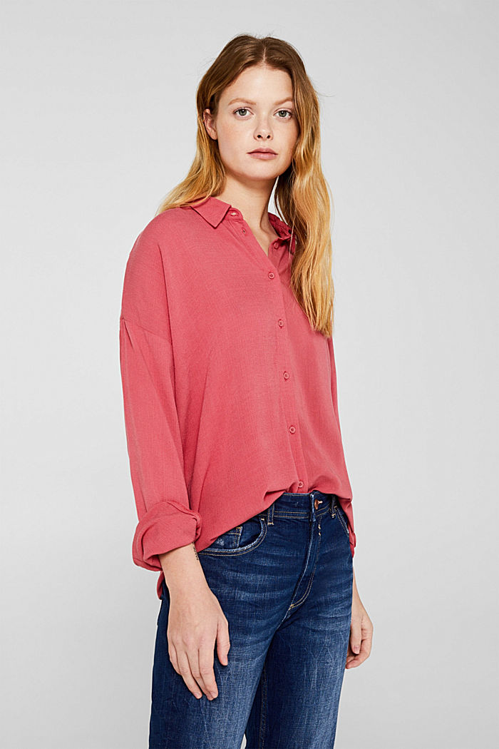 Flowing shirt blouse with a texture, BLUSH, detail image number 5