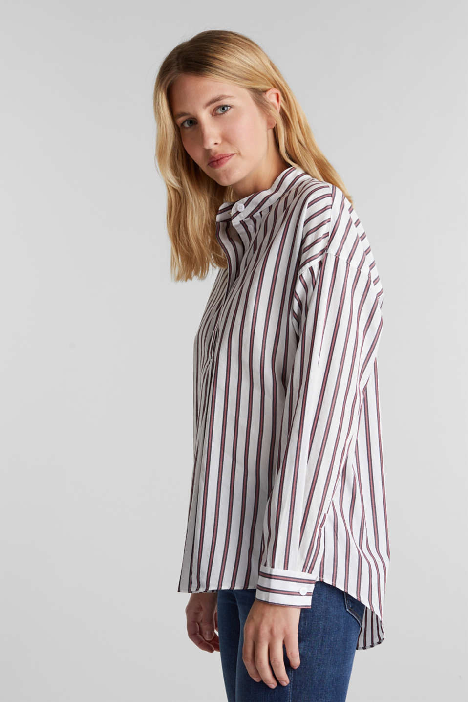 Slip-on blouse with a stand-up collar, 100% cotton, OFF WHITE, detail image number 5