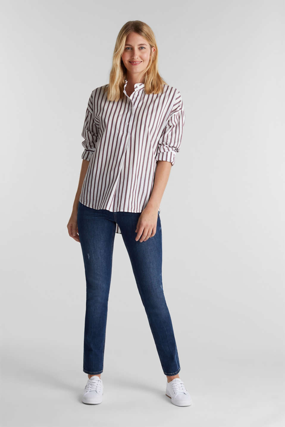Slip-on blouse with a stand-up collar, 100% cotton, OFF WHITE, detail