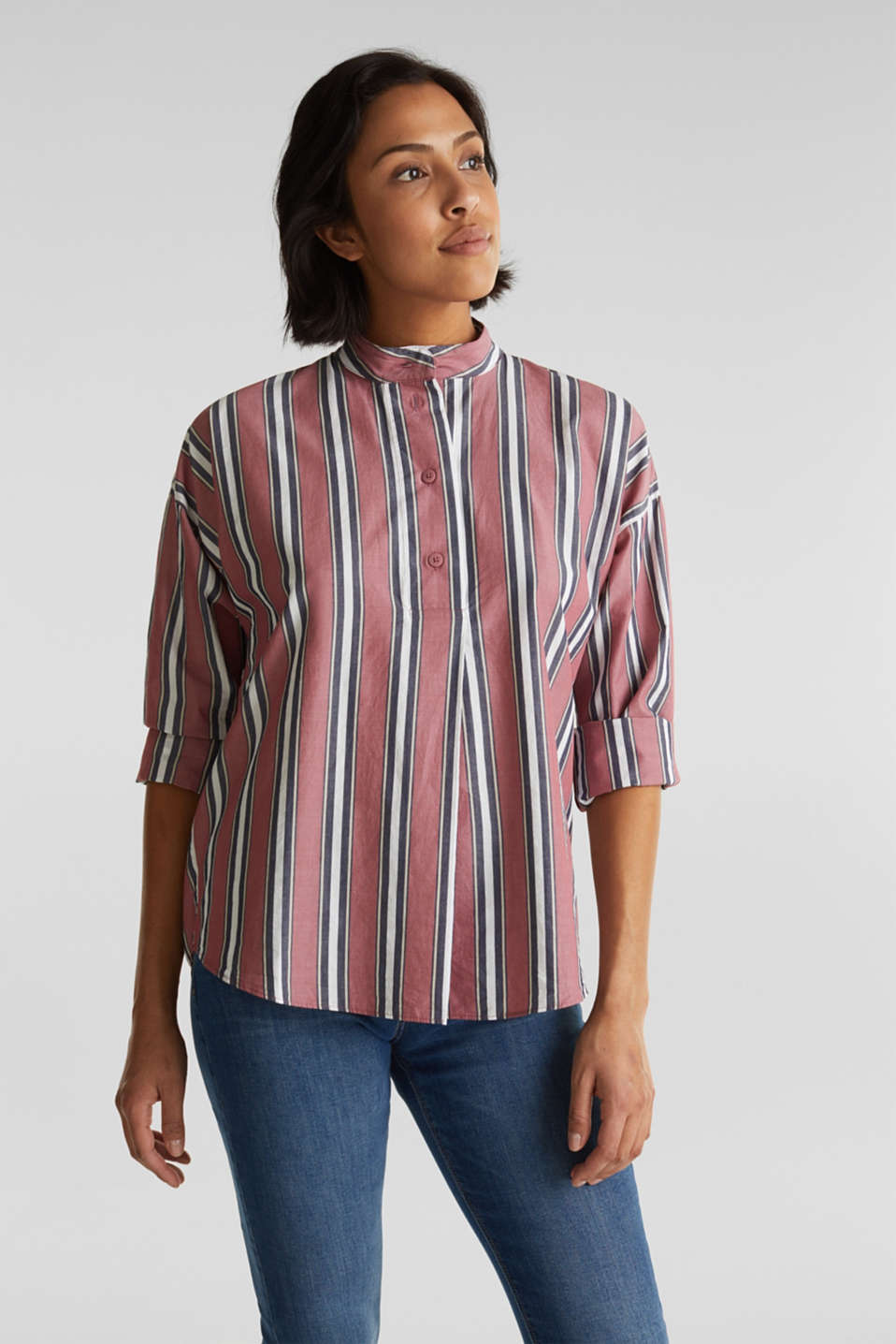 edc - Slip-on blouse with a stand-up collar, 100% cotton