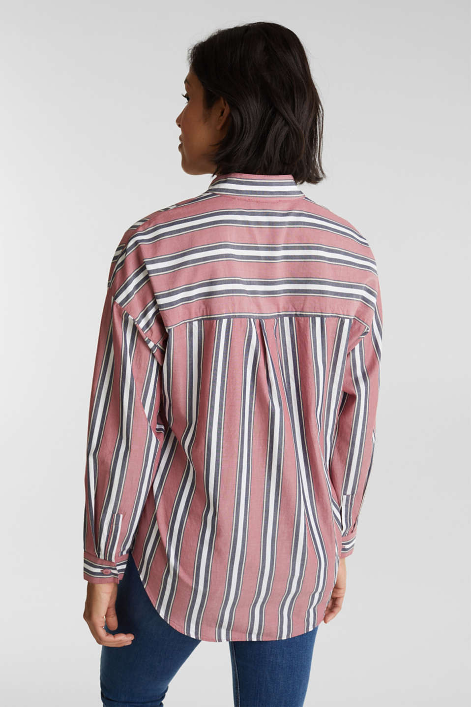 Slip-on blouse with a stand-up collar, 100% cotton, BLUSH, detail image number 3