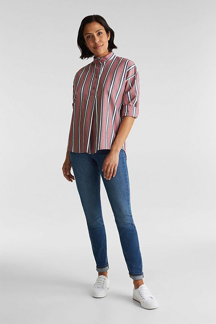 Schlupf-Bluse mit Stehkragen, 100% Baumwolle, BLUSH, detail image number 1
