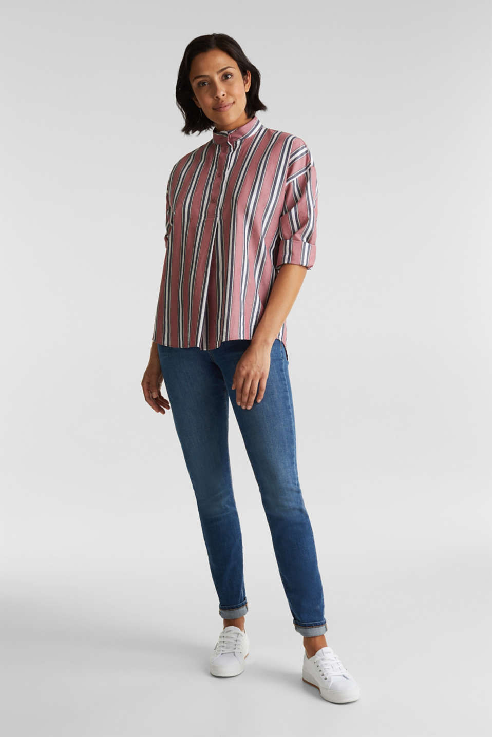 Slip-on blouse with a stand-up collar, 100% cotton, BLUSH, detail image number 1