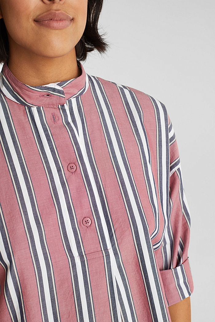 Slip-on blouse with a stand-up collar, 100% cotton, BLUSH, detail image number 2