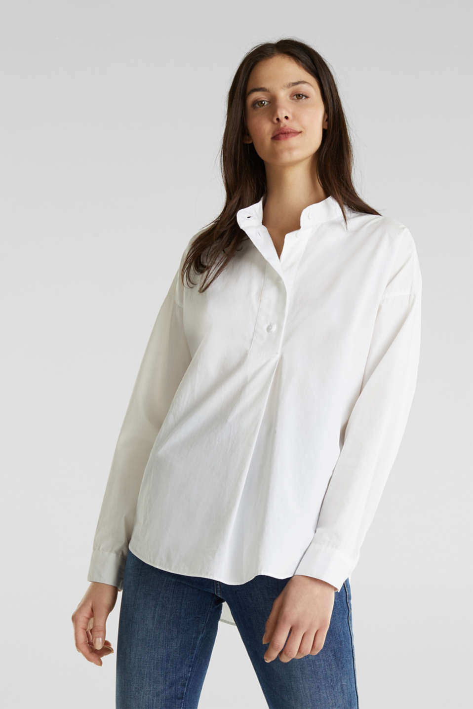 Oversized blouse with a stand-up collar, 100% cotton, WHITE, detail image number 0
