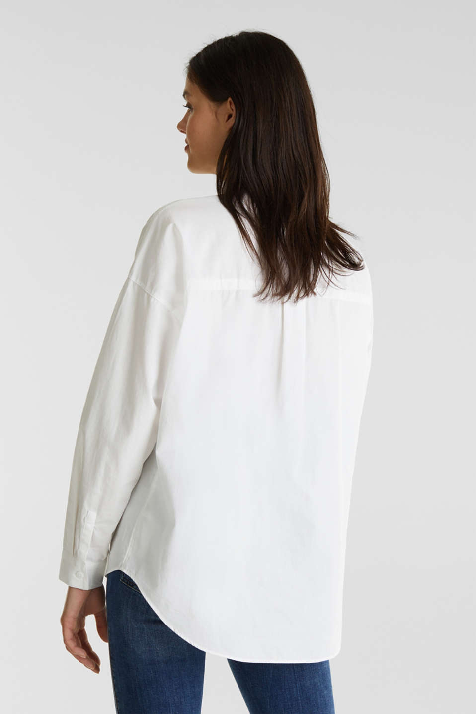 Oversized blouse with a stand-up collar, 100% cotton, WHITE, detail image number 2