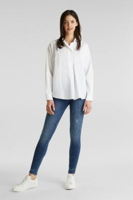 Oversized blouse with a stand-up collar, 100% cotton, WHITE, detail