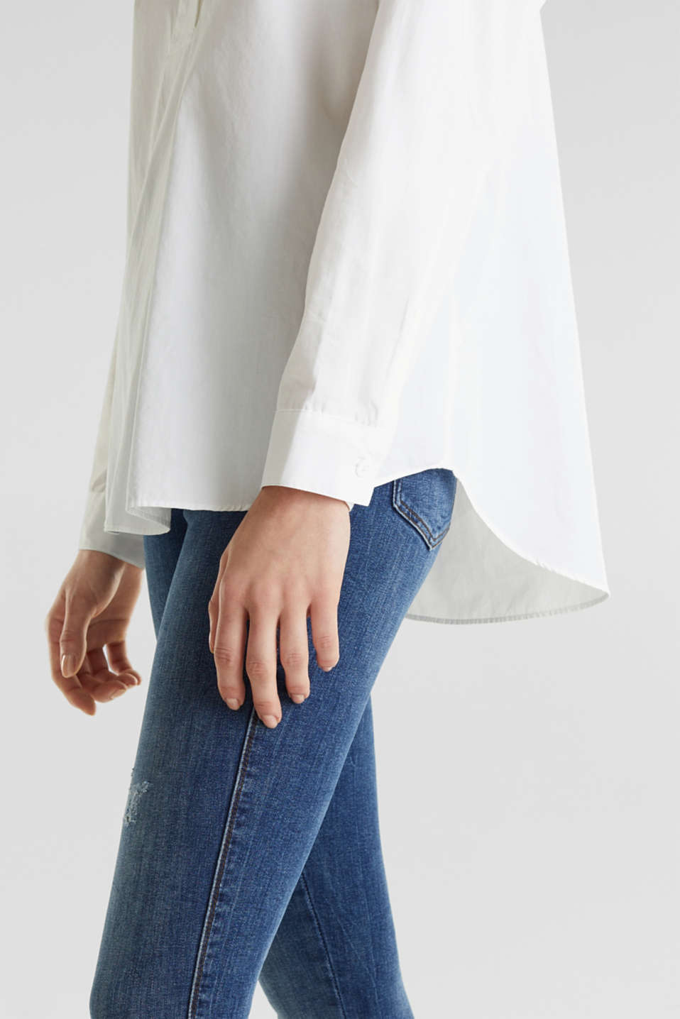 Oversized blouse with a stand-up collar, 100% cotton, WHITE, detail image number 4