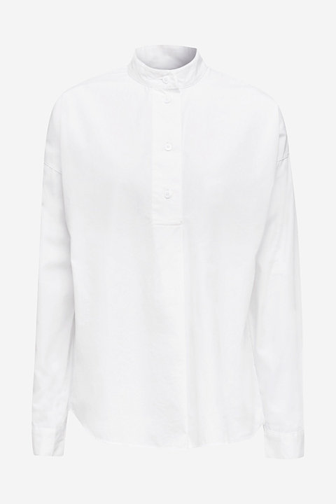 Oversized blouse with a stand-up collar, 100% cotton