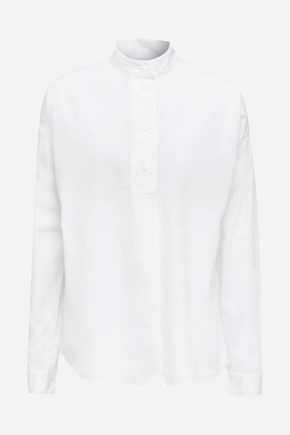Oversized blouse with a stand-up collar, 100% cotton, WHITE, detail image number 6