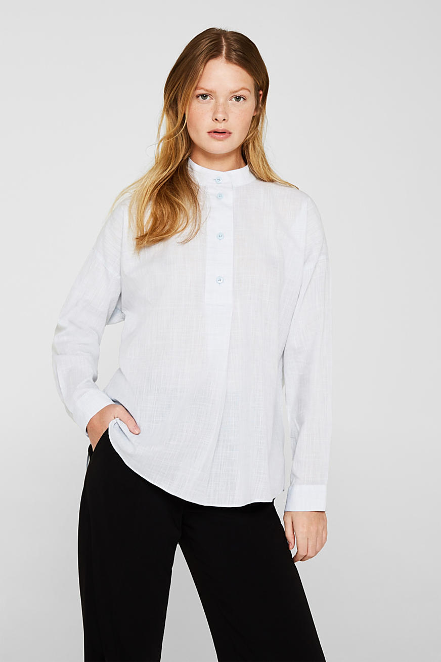 Blouse à enfiler en chambray, 100 % coton