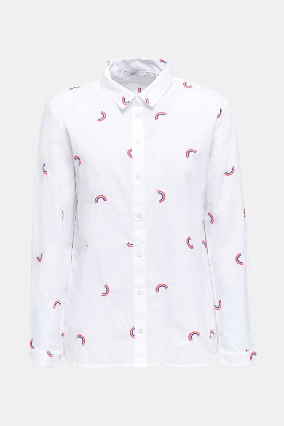 Cotton blouse with embroidery, WHITE, detail image number 6