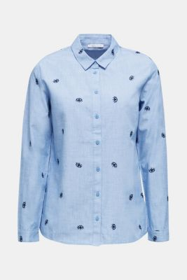 Embroidered chambray blouse, LIGHT BLUE, detail