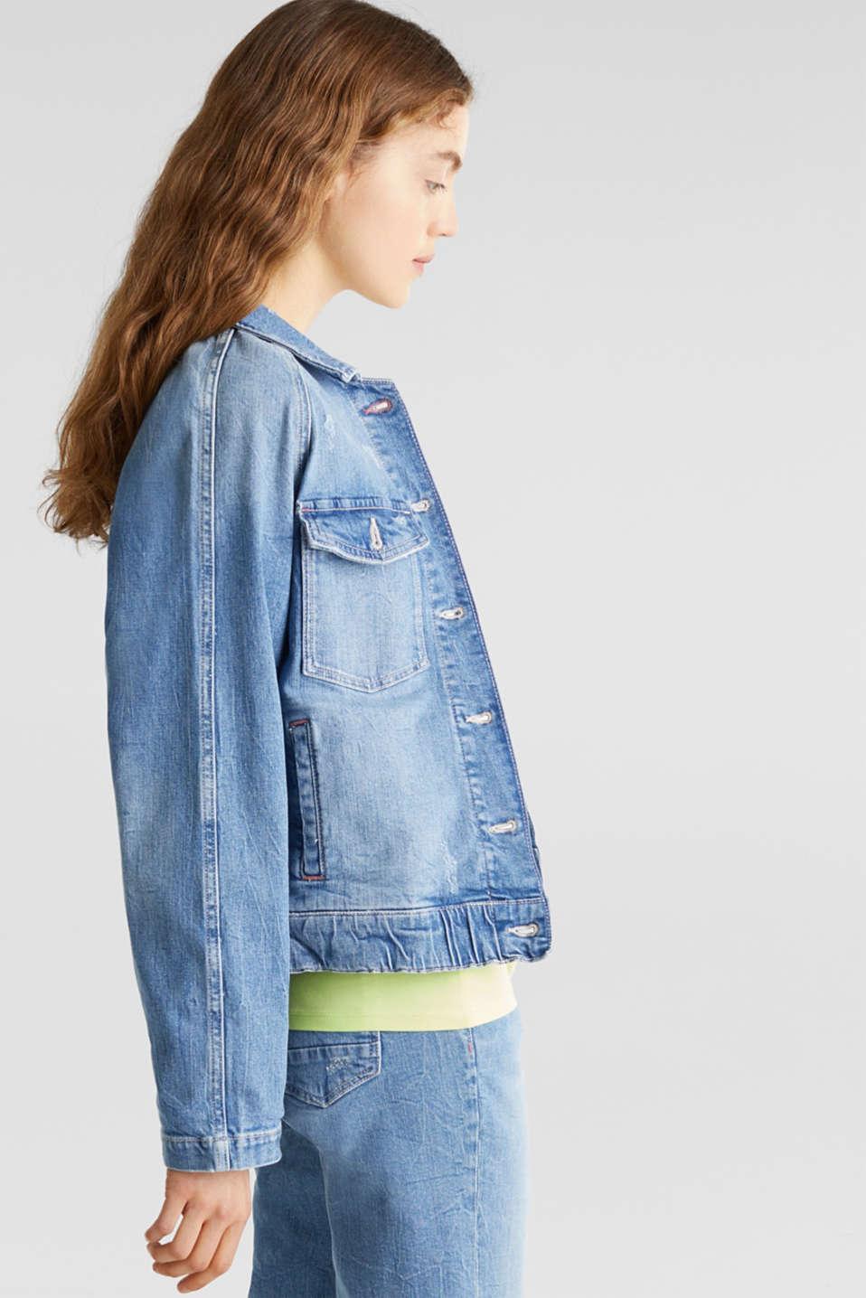 Denim jacket with new details, BLUE LIGHT WASH, detail image number 5