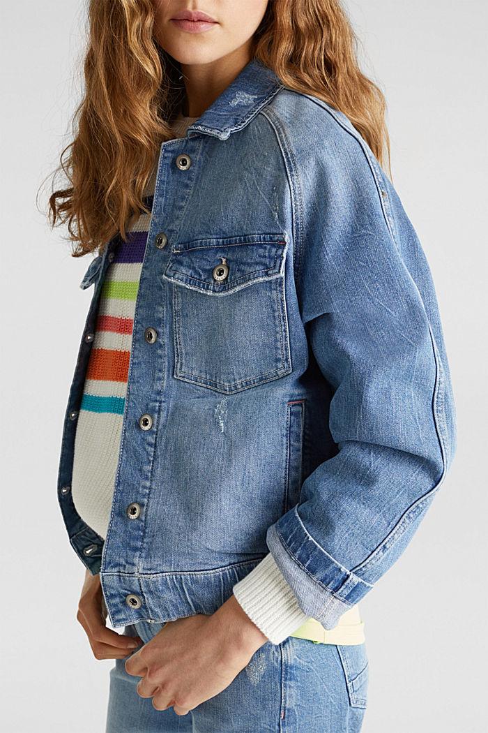 Jeans-Jacke mit neuen Details, BLUE LIGHT WASHED, detail image number 6