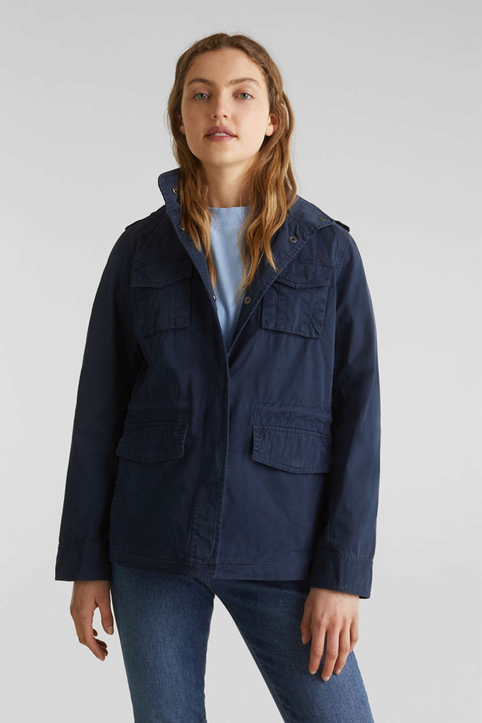 Utility jacket in 100% cotton, NAVY, detail image number 0