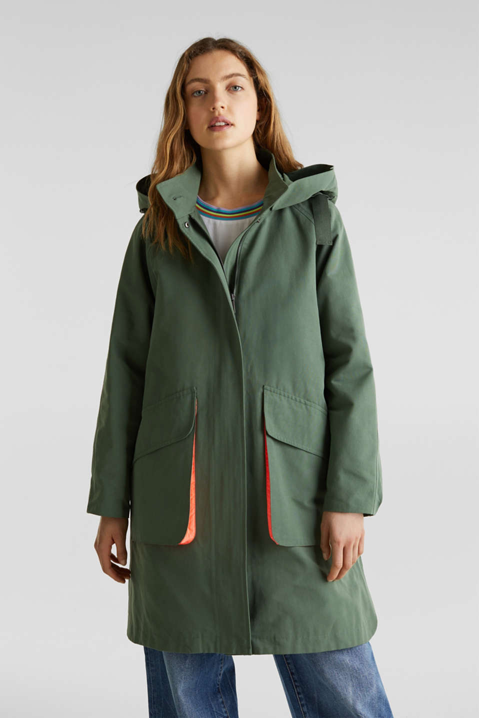 Parka with NEON lining, KHAKI GREEN, detail image number 0
