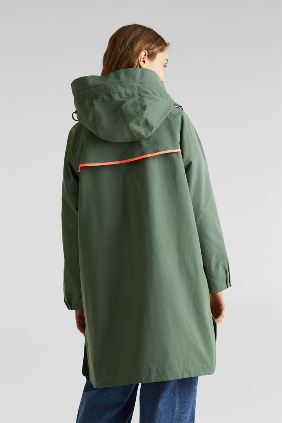 Parka with NEON lining, KHAKI GREEN, detail image number 3