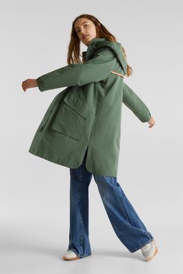 Parka with NEON lining, KHAKI GREEN, detail