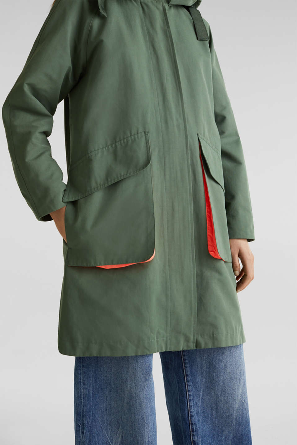 Parka with NEON lining, KHAKI GREEN, detail image number 2
