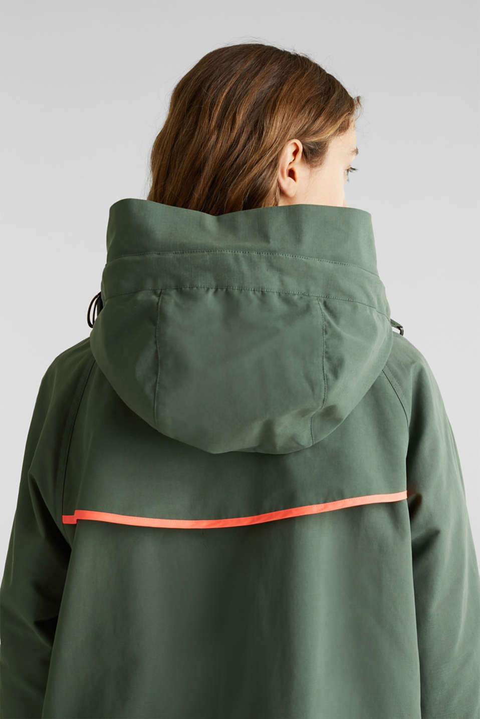 Parka with NEON lining, KHAKI GREEN, detail image number 5