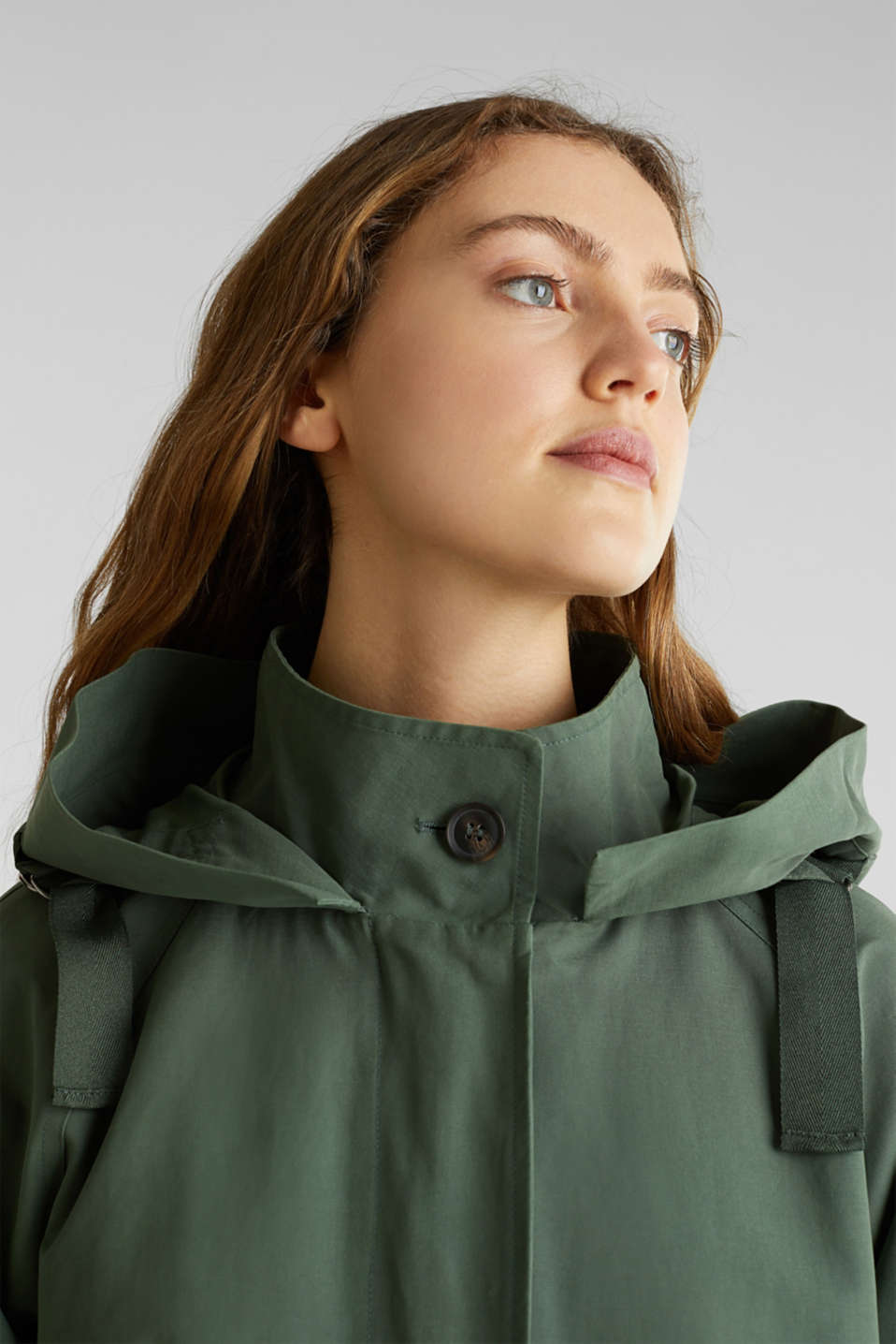 Parka with NEON lining, KHAKI GREEN, detail image number 6